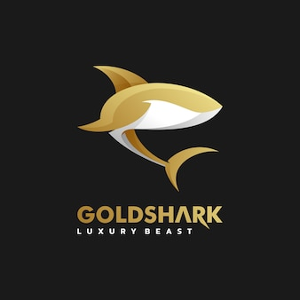 Logo illustration golden shark gradient estilo colorido.