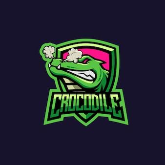 Logo de ilustración de cocodrilo fuerte para escuadrón de juegos