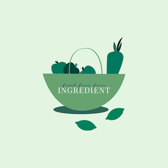 Logo de ingredientes orgánicos saludables.