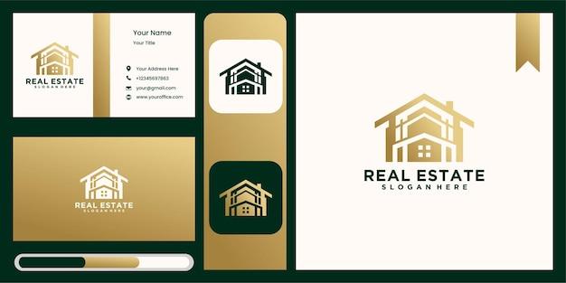 Logo de inicio para empresa inmobiliaria en color dorado.