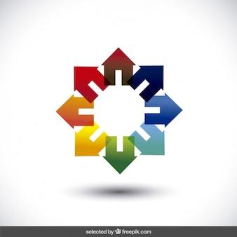 Logo inmobiliaria hecho con casas de colores