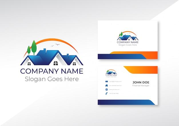 Logo inmobiliario con tarjeta de presentación