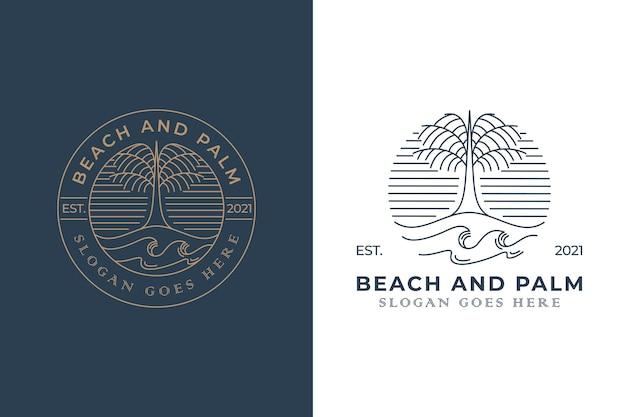 Logo insignia retro vintage de palmera de playa con dos versiones