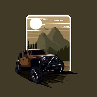 Logo de jeep de aventura