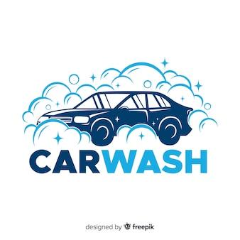 Logo lavado de coches plano azul