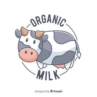Logo leche orgánica vaca adorable
