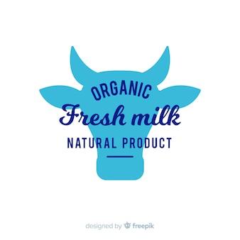 Logo leche silueta cabeza vaca