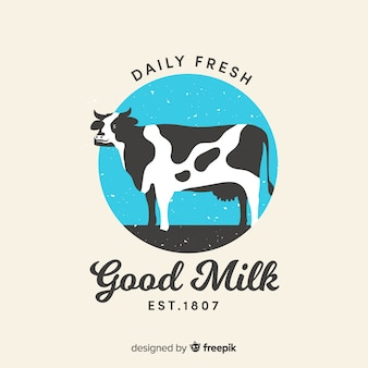 Logo leche vaca dibujada a mano