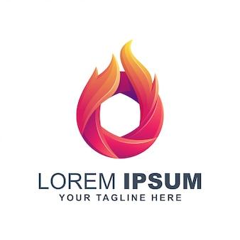 Logo de lente de llama de fuego