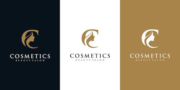 Logo letra c con logo de mujer de belleza.