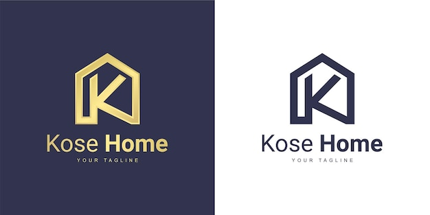 Logo de letra k con el concepto de casa