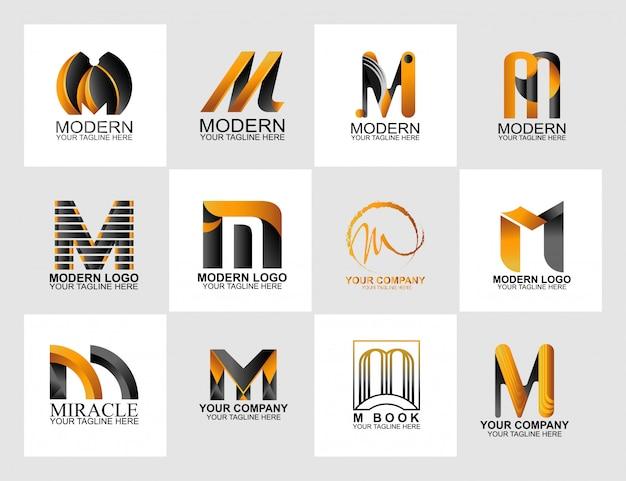 Logo de la letra m colección, logotipo de identidad corporativa