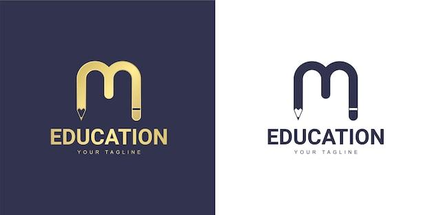 Logo de letra m con un concepto educativo