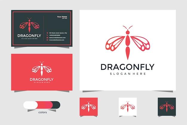Logo de libélula elegante con tarjeta de visita