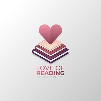 Logo de libro degradado con forma de corazón