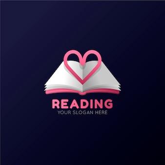 Logo de libro degradado con lema