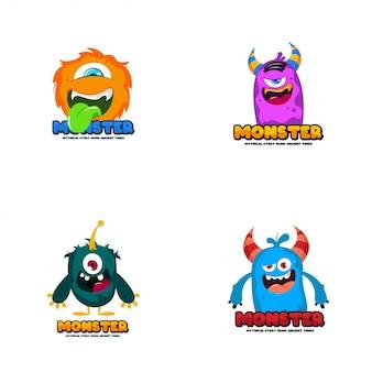 Logo lindo monstruo monster logo personaje plantilla vector. plantilla de logotipo de personaje.