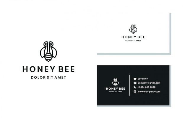 Logo de línea de abeja minimalista
