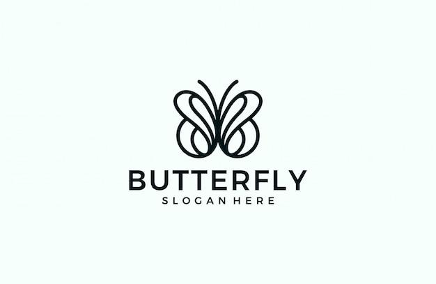 Logo de línea mariposa minimalista