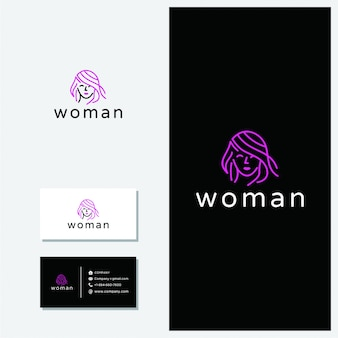 Logo de línea minimalista vector de mujer.