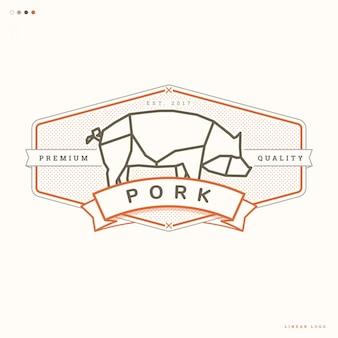 Logo lineal de cerdo