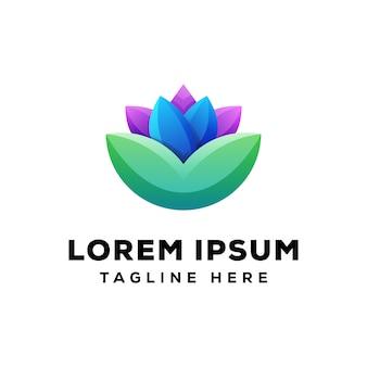 Logo de lotus colorido premium