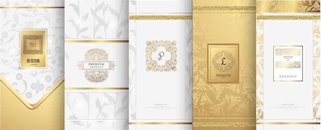 Logo de lujo y diseño de packaging dorado