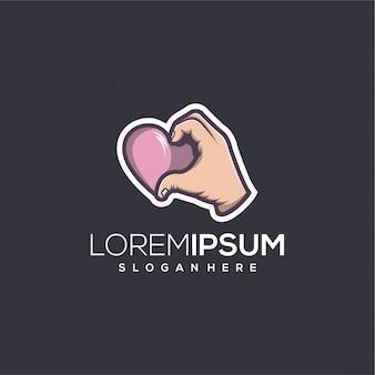 Logo de mano de amor