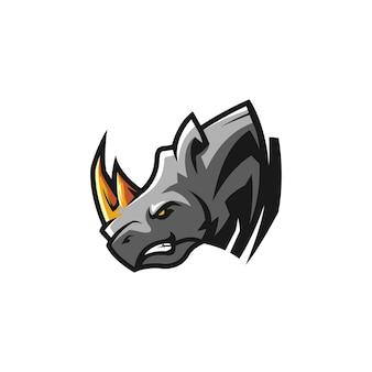 Logo de mascota de cabeza de rinoceronte