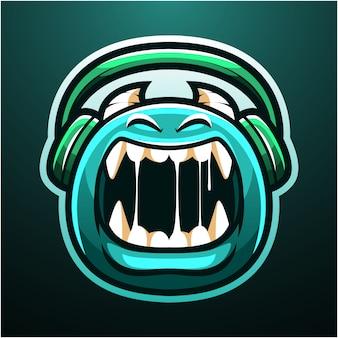 Logo de mascota monstruo lindo esport