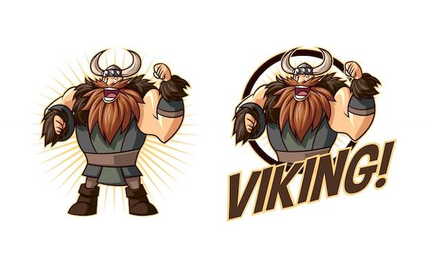 Logo de mascota de personaje vikingo de dibujos animados