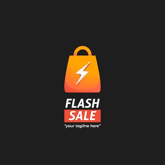 Logo de mercado de venta instantánea flash