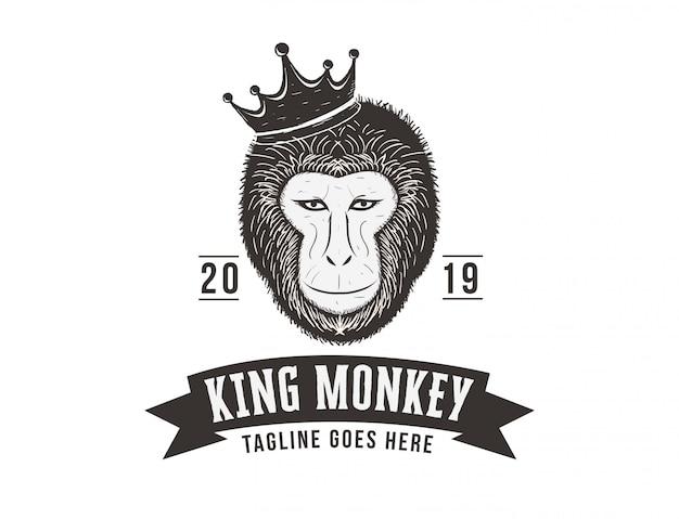 Logo de mono rey dibujado a mano