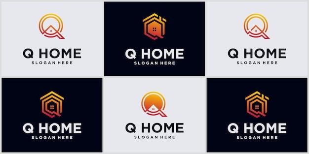 Logo monograma alfabeto letra q casa con diseño de logotipo inmobiliario