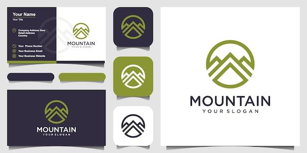 Logo de montaña lineal. tarjeta de visita de naturaleza de aventura de viaje