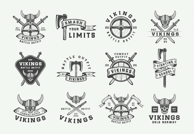 Logo motivacional de vikingos vintage