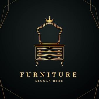 Logo de muebles elegantes dorados