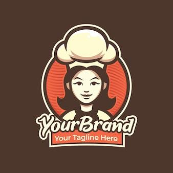 Logo de mujer chef para pastelería, restaurante, cafetería logo ilustración mascota