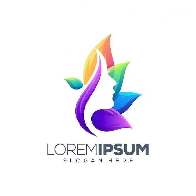 Logo de mujer colorida