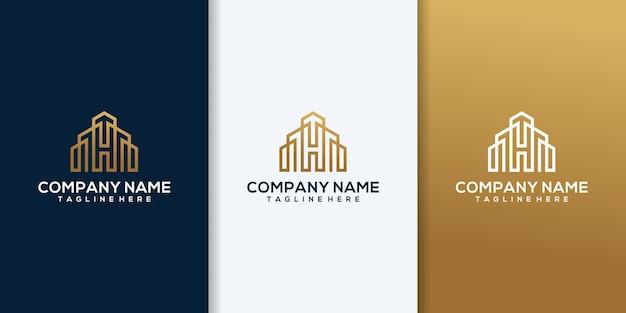 Logo para el negocio de la construcción, con combinación de las iniciales h