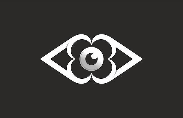 Logo de ojo de flor con monograma