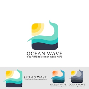 Logo de ola oceanica
