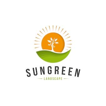 Logo de paisaje verde sol