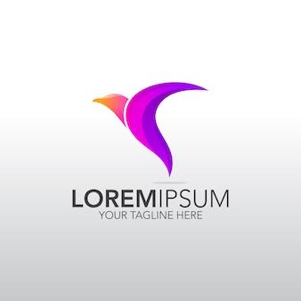 Logo de pájaro abstracto
