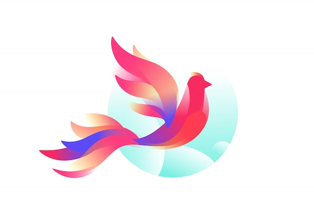 Logo de un pájaro. un pájaro fabuloso.