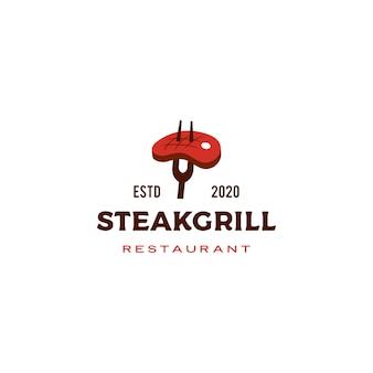 Logo de parrilla de carne