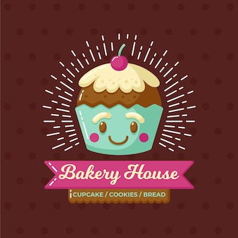 Logo de pastel de panadería con cupcake