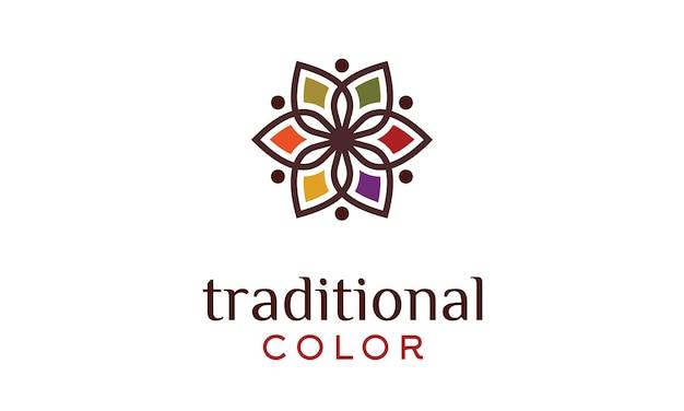Logo patrón floral colorido tradicional asiático