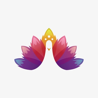 Logo de pavo real moderno