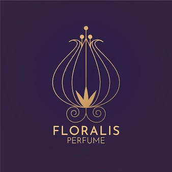 Logo de perfume floral de lujo